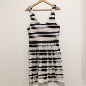Jcrew stripe dress with button detail on back .